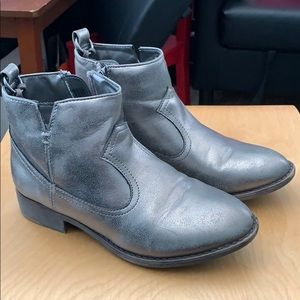 Girls silver ankle booties